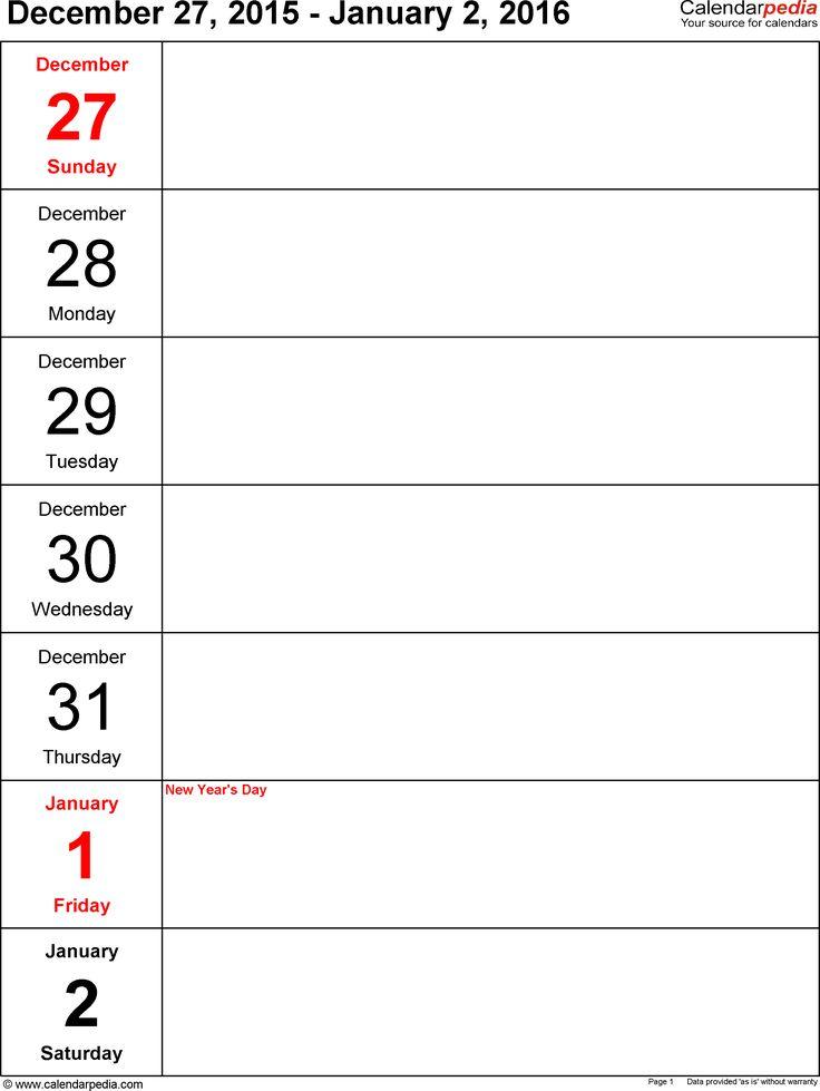 Best 25+ Week calendar 2016 ideas on Pinterest Free printable - free printable weekly calendar
