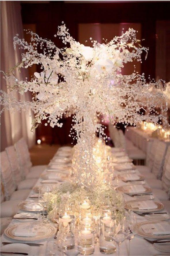 Kış düğünleri için masa dekorasyonları   Gelin Olmuş