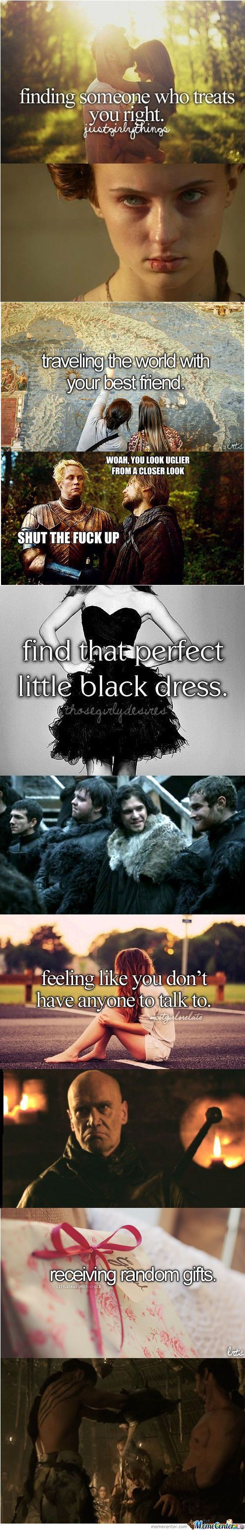 """That perfect little black dress.  Jon Snow be like """"I am the most swxier"""