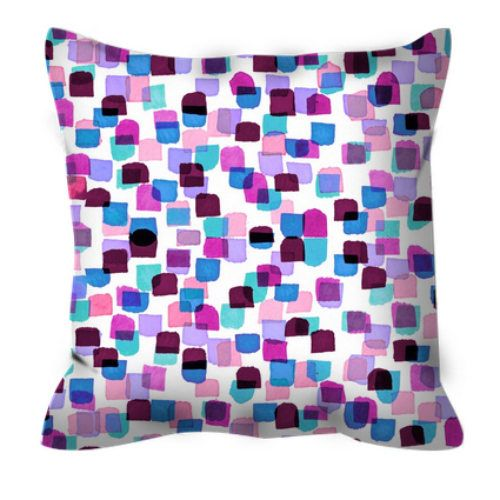 RETRO MOD DOTS 6 Polka Dot Pattern Purple Pink Abstract Art Decorative Suede Throw Pillow Cushion Cover, #throwpillow #pillowcover #pillow #cushion #cushioncover #polkadot #spots #polkadots #multicolored #pattern #colorfuldecor #jeweltone #pink #purple #lavender #burgundy #ebiemporium #watercolor #homedecor #decorative #girly #feminine #artdecor #musthave #dormdecor
