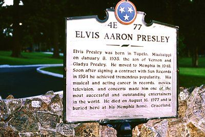 Memphis, Tenn., celebrates its most favorite son, Elvis Presley, still a major tourist attraction three decades after his death. This commemorative plaque cites Presley's birthplace in Tupelo, Miss. Presley's family reportedly spelled his middle name Aron, in honor of his stillborn ... more     ©Daniel Coston / Retna