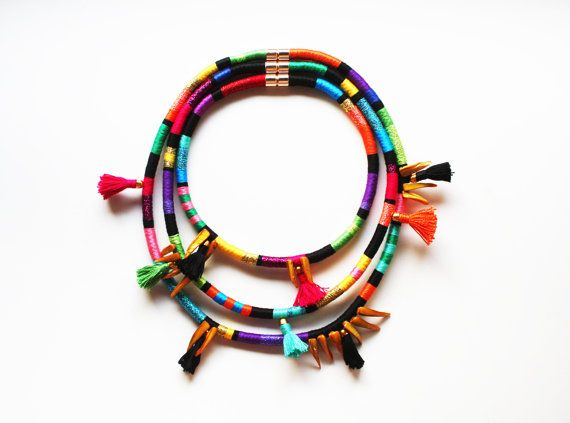 ZULU - African Inspired Necklace Multi Strand Necklace Thread Wrapped Rope Necklace Tassel Mother of Pearl Color Block Tribal Jewelry  Reminds of Marion Sanders wonderful neck;aces