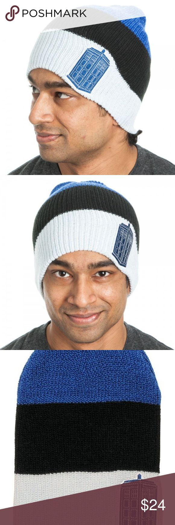 Doctor Who Tardis Slouch Beanie Hat This stretchy slouch-style knit beanie hat is very light weight.  It is striped blue, black, and white.  It has a patch of the Tardis.  Made by Bioworld - Officially Licensed Doctor Who merchandise.  Size: One Size Fits Most Age: Intended For Ages 14 and Up Brand: Bioworld  Perfect for any fan of Doctor Who!  Keep warm in the winter!  Makes a great gift!  CONDITION - New  Check out my Posh for more Nerdy Greatness! Bioworld Accessories Hats