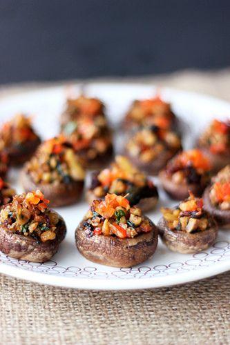 Vegan Stuffed Mushrooms (Gluten-free + Vegan) | For the Vegetarians | Pinterest | Vegan, Vegan gluten free and Gluten free