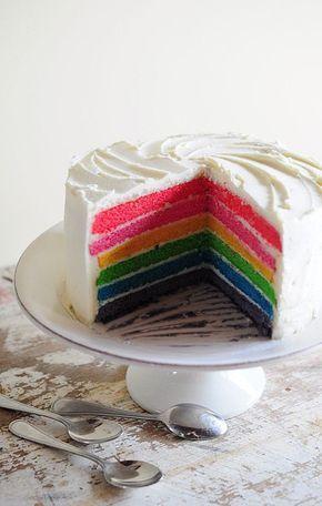 Rainbow cake La Popote de Manue - Recette (à faire avec ganache montée au chocolat blanc ou chantilly mascarpone)