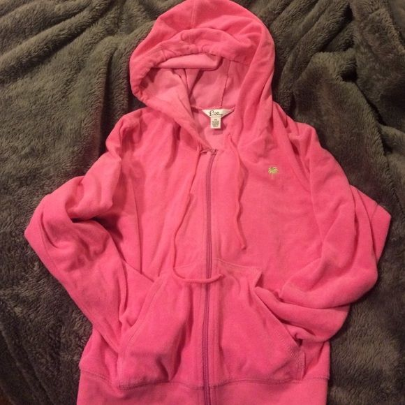 Lily Pulitzer petite zip up hoodie Pink Lilly Pulitzer terry cloth zip up hoodie, size petite small. Worn once, the pink is very vibrant Lilly Pulitzer Tops Sweatshirts & Hoodies