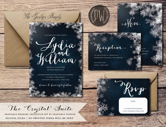 Winter Wedding Invitation Suite printable wedding invite vintage style snowflake wedding invitation DIY digital invitation Printable Wisdom
