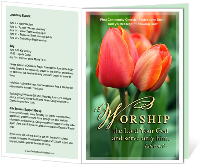 church bulletin templates tulip church bulletin template with bible verse worship the lord and serve only him luke 48 printable church bulletins