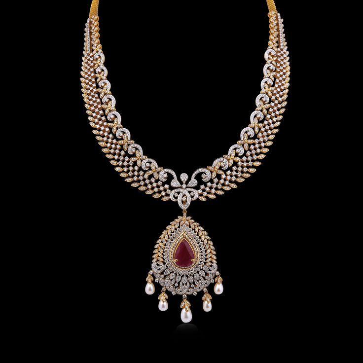 Elegant Diamond & ruby Bridal Necklace
