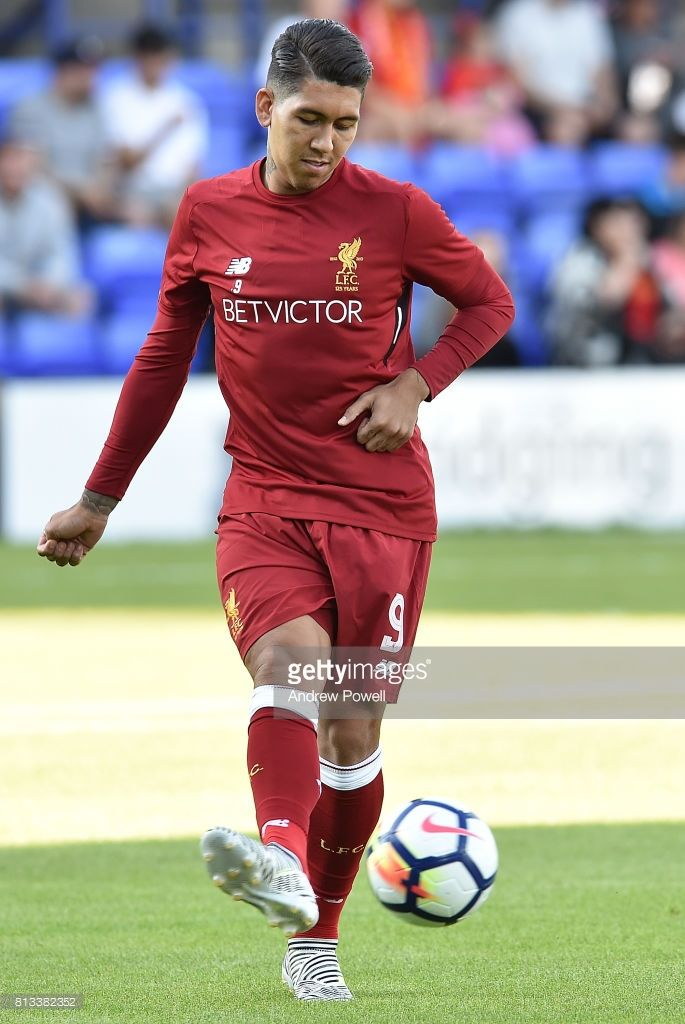 Roberto Firmino of Liverpool Warming up during the pre season friendly between Tranmere Rovers and Liverpool at Prenton Park on July 12, 2017 in Birkenhead, England.