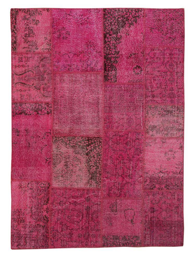 Overdyed Patchwork Carpet - Fuchsia Vintage Stylish Patchwork Rug -  Recoloured Contemporary Rug #bathroom-rug #contemporary-rug #decorative-rug #diaper-pattern #diaper-rug #fuchsia-color-rug #fuchsia-kilim-patchwork #fuchsia-kilim-rug #fuchsia-patchwork #great-deal #kitchen-rug #mat #modern-rug #orange-rug #patchwork #patchwork-carpet #patchwork-rug #puzzle-rug #rug-for-childrens-room #rug-for-kitchen #rug-on-sale
