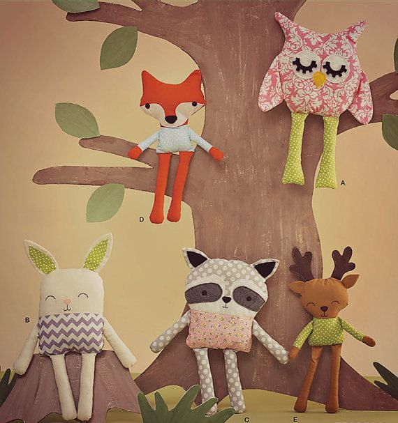 5 Toy Sewing Patterns for Woodland Animals, Raccoon, Fox, Bunny Rabbit, Raindeer Deer, Owl, Vintage Handmade, Beginners Rag Doll Sew Pattern...