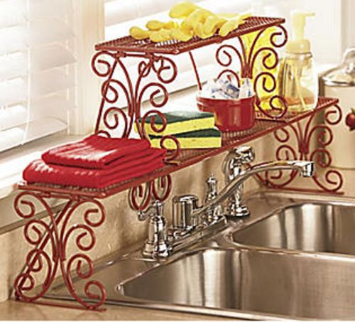 Great 2 Tier Scrolled Over The Sink Shelf New Unassembled