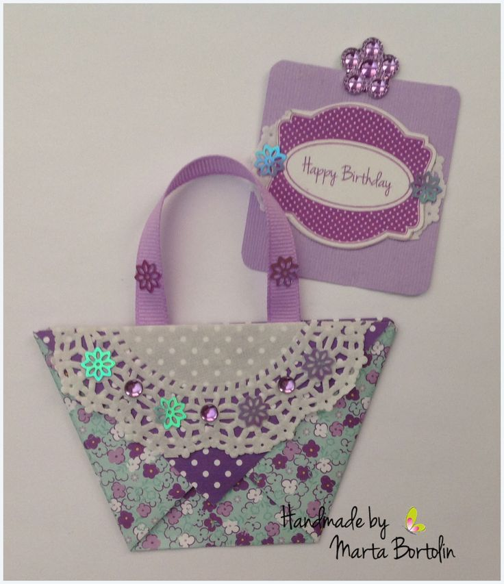 Happy Birthday Card, purse shaped, floral paper , flower embellishment, rhinestones and doily paper. Sold at Etsy