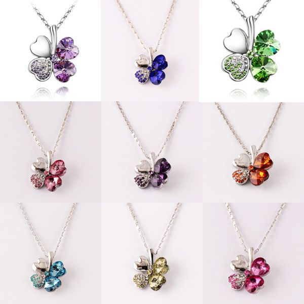 Zinklegierung Blume Anhänger, mit Kristall, vierblättriges Kleeblatt, silberfarben plattiert, mit Strass, keine, frei von Nickel, Blei & Kad...