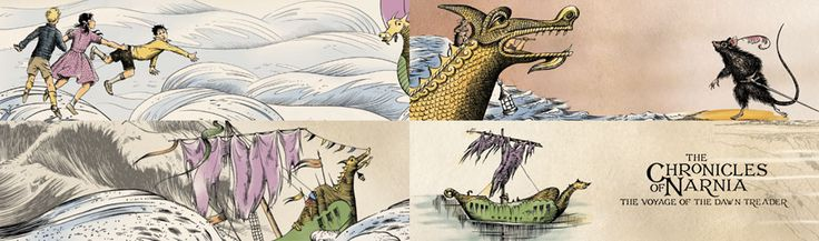 The Chronicles of Narnia, the Voyage of the Dawn Treader (2010)  Hand drawn illustrations (based on originals from the book, by Pauline Baynes). Animated for the title sequence by Fugitive Studios.