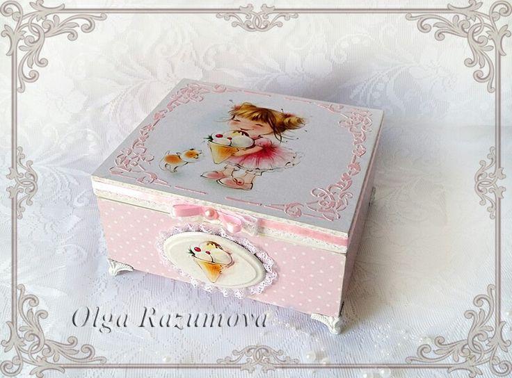 "Шкатулка ""Сладкоежка"" #gelato #decoupage #box #decor"