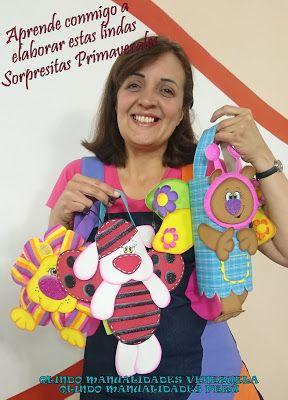 "Q'LINDO Manualidades: Sorpresitas Primaverales..Leon ""Flor""..Osita ""Mariposa"" y Conejo ""Mariquita"""