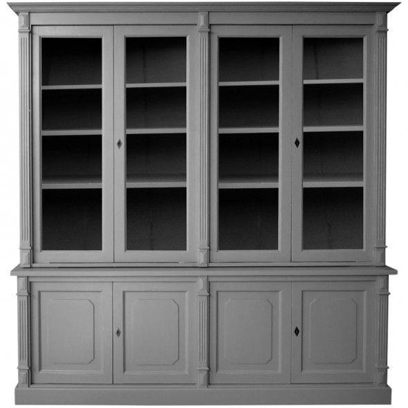 Meuble vaisselier directoire patine antiquaire gris fonc for Antiquaire lille meuble