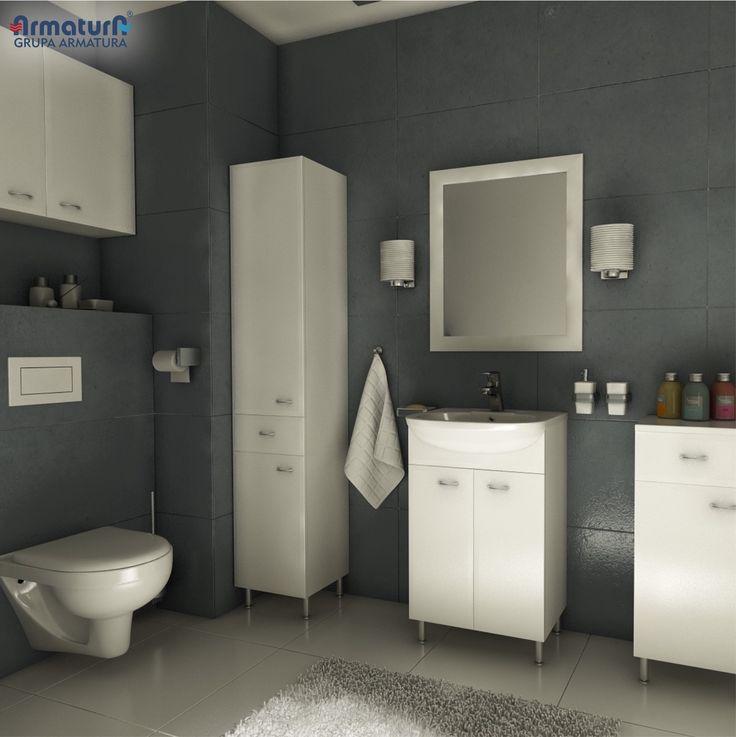Paleta szarości jest jednym z najczęstszych wyborów przy aranżacji łazienki, która będzie zachwycać elegancją przez lata. Efektu dopełnią proste meble NIVE BASIC i ceramika w ponadczasowej bieli. #ArmaturaKraków #SzaraŁazienka #Łazienka #Interior #NIVE #home #trendy #WystrójWnętrz #Bathroom