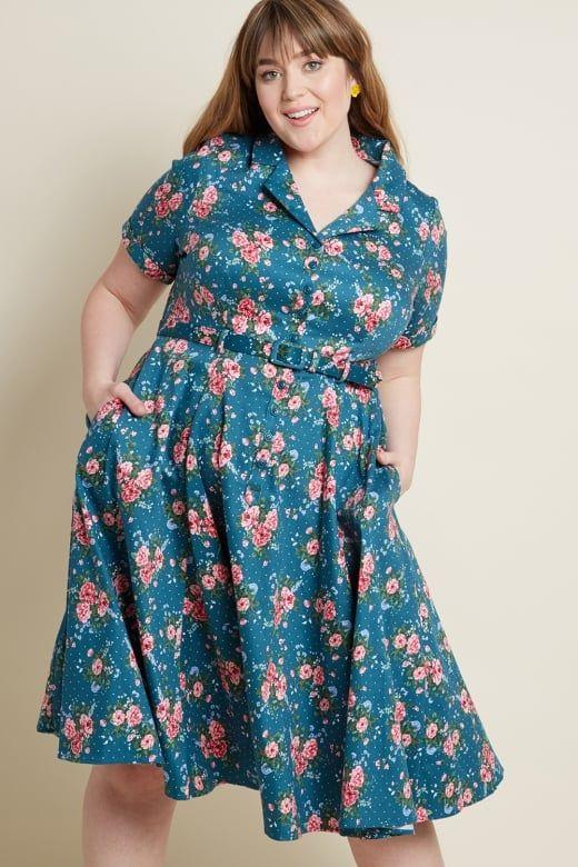 133914d8c680 X Modcloth Caterina 40's Floral Swing Dress   Vintage/Vintage Inspired    Dresses, Floral shirt dress, Shirt Dress