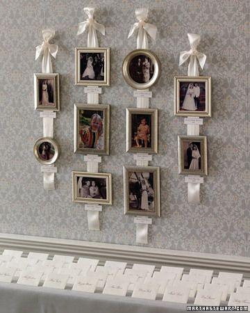 Family Photo Wall - love the ribbons