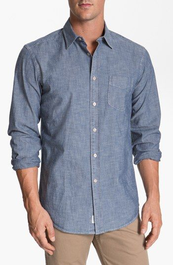 Façonnable Tailored Denim Regular Fit Chambray Sport Shirt available at #Nordstrom