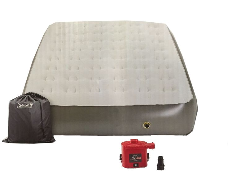 Coleman Comfort Strong 12-in Height Airbed with Portable Pump - Queen. Soft plush top with velvet like sleep surface for more comfort. Double lock valve, dual sealed and leak free. Easy inflation and deflation with included battery operated 4D pump. 12-in bed height. Holds up to 600-lbs. 1 Year manufacturer's warranty. Location, temperature, and humidity will affect the firmness of the airbed. Airbeds will need to be occasionally re-inflated (topped off) to maintain desired firmness upon...