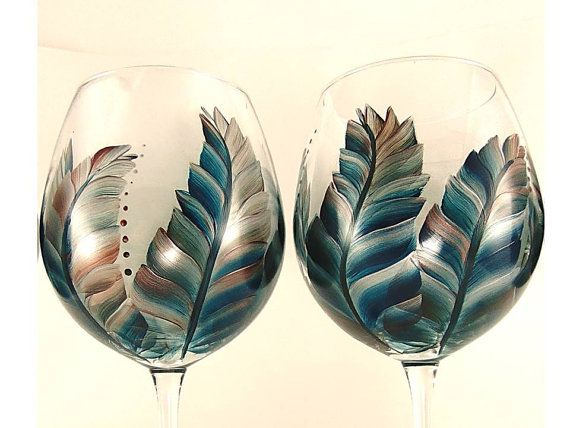 Hand Painted Wine Glasses - Shimmering Feathers in  Southwestern Colors Turquoise Copper Silver Set of 4 - Large Red Wine Glass Gift idea