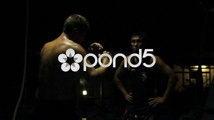 Shadow Boxing Under Spotlight Slow Motion Combat Sport Fight Training Muay Gym - Stock Footage | by RyanJonesFilms
