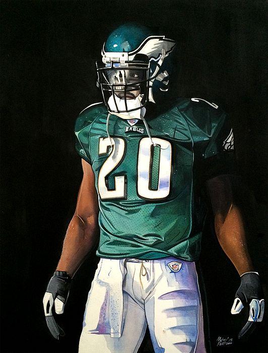 Brian Dawkins Philadelphia Eagles, watercolor painting by Michael Pattison
