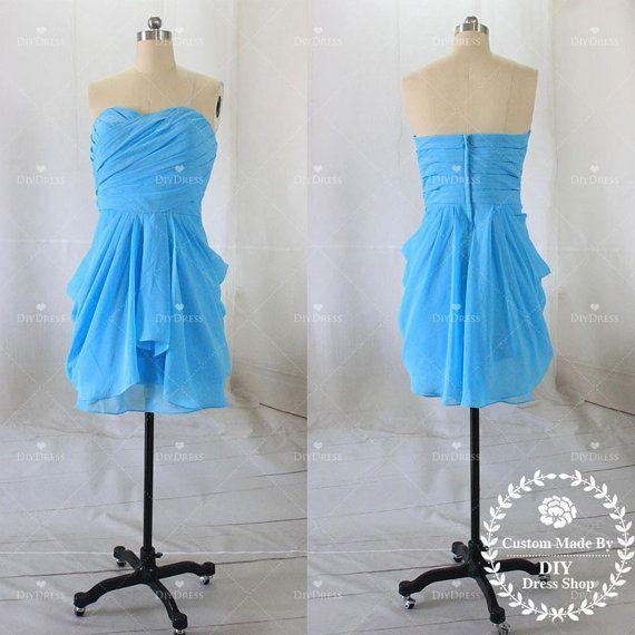 Mini Bridesmaid DressesShort Blue Chiffon Affordable by DiyDress