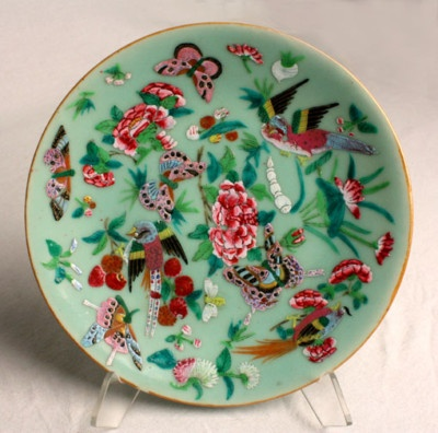 Antique Chinese Enamel Butterfly Celedon Pottery Plate