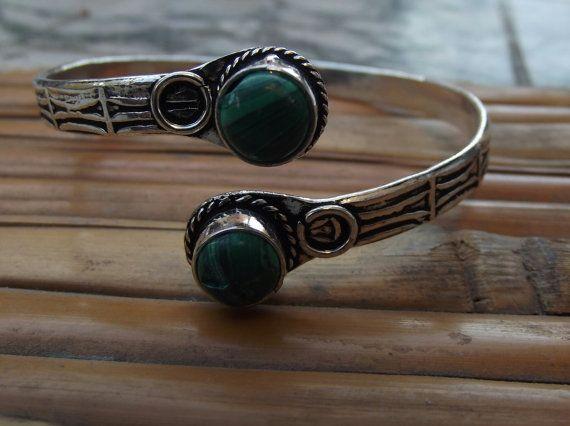 Bracciale in argento con pietre malachite di silveringjewelry