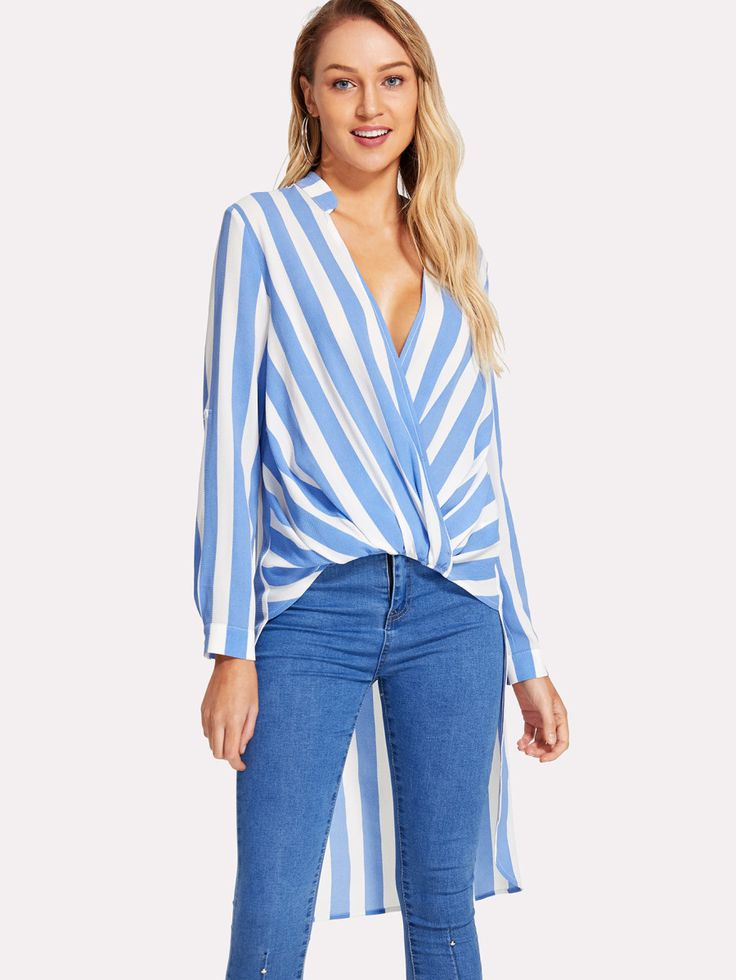 Shop Twist Front Striped High Low Top online. SheIn offers Twist Front Striped High Low Top & more to fit your fashionable needs.
