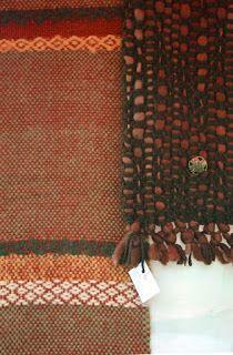 bufanda en mohair con guardas, cuello en flamé de lana