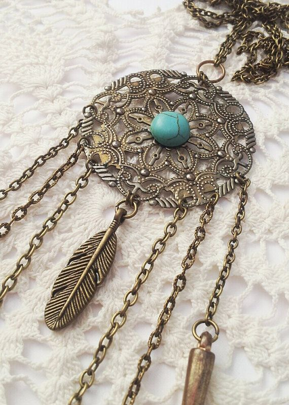 Turquoise Tassel Necklace / Bronze Filigree by FeathermoonByronBay