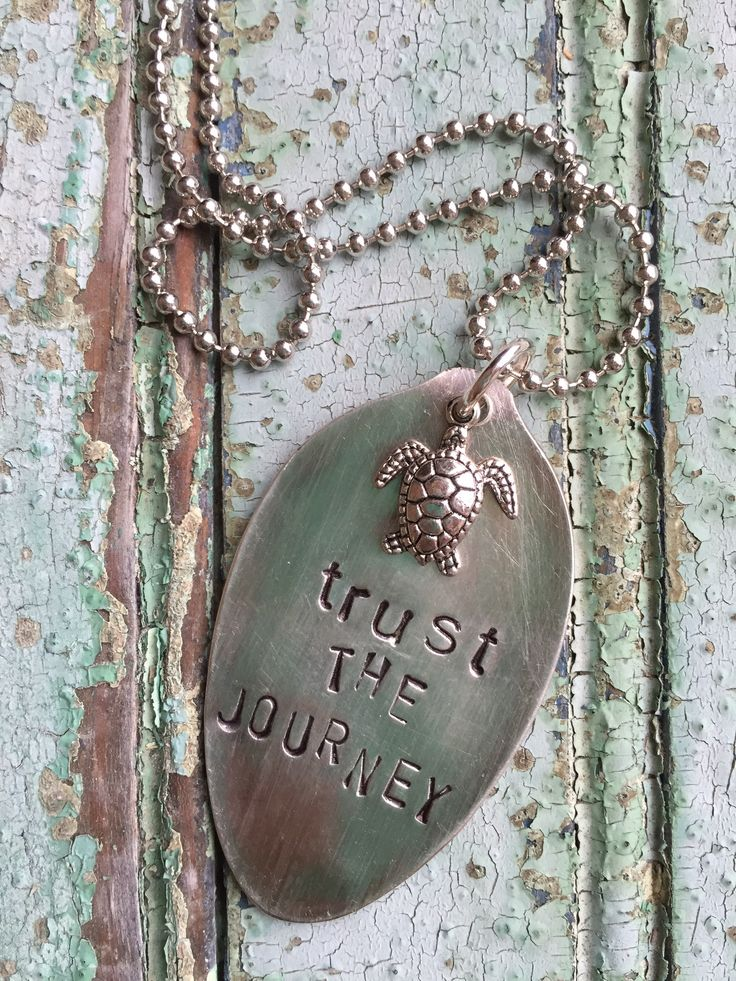 """Hopefully your journey takes you to somewhere beachy! Vintage hand stamped spoon necklace comes with a 24"""" ball chain in silver and turtle charm. ~The item pictured is a sample. We create to order, in"""