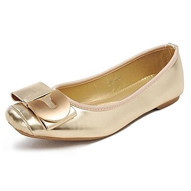 Womens Gold Gucci-Inspired Leather Flat Shoes