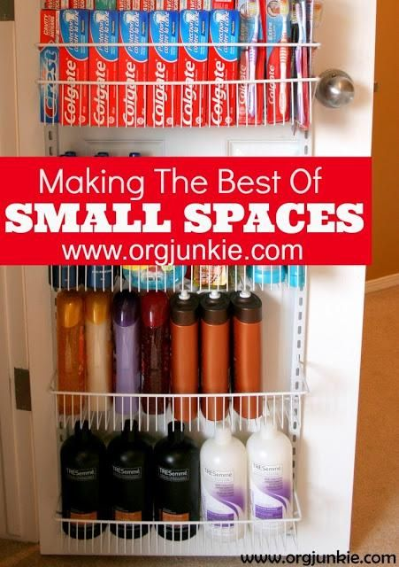 Making the Most of Small Spaces at I'm an Organizing Junkie. One of these on the back of the closet door for scarves, bathing suits, socks, whatever would free up space in the dresser!