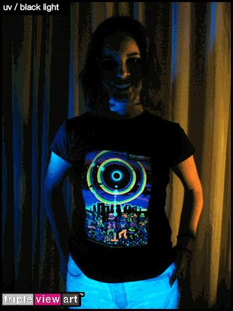 """""""Eclipse Over Stonehenge"""" UV-Blacklight Fluorescent & Glow-In-The-Dark Phosphorescent Psychedelic Art Womens T-shirt, £20 in Tripleview Art Web Shop.  #psychedelic #psy #trance #psytrance #goatrance #rave #trippy #hippie #esoteric #mystic #spiritual #visionary #symbolism #UV #blacklight #fluorescent #fluoro #fluo #neon #glow #glowinthedark #phosphorescent #luminescent #art #tshirt #stonehenge #eclipse #rainbow #elves #goblins #party"""