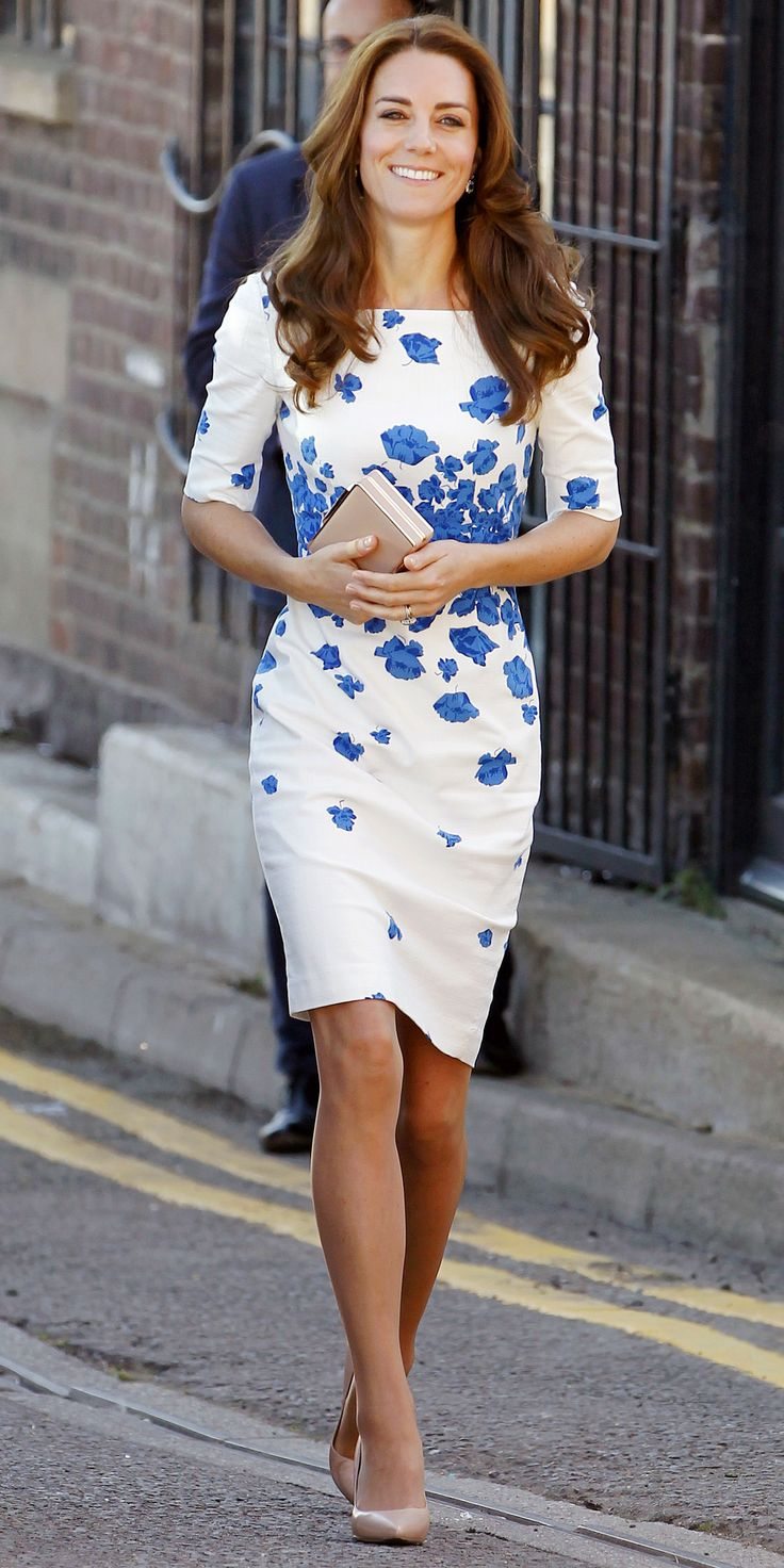 Kate Middleton took one of her favorites—her blue floral-print L.K. Bennett LWD (an oldie, but a goodie)—out for a spin, choosing to wear it during a visit to the national youth charity Youthscape. Seeing as how the dress was the main focal point of her look, the Duchess smartly styled her dress with pared-back neutral accessories.