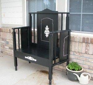 Repurposed Crib Bench by Designer Garden