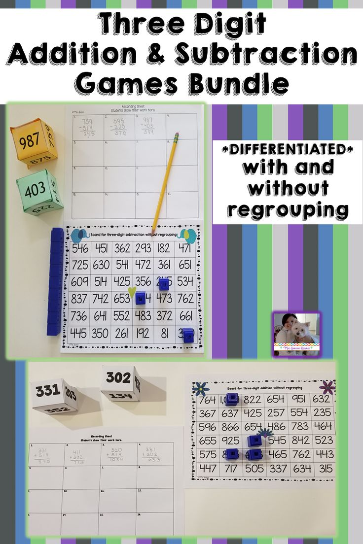 Three Digit Addition and Subtraction Games Bundle