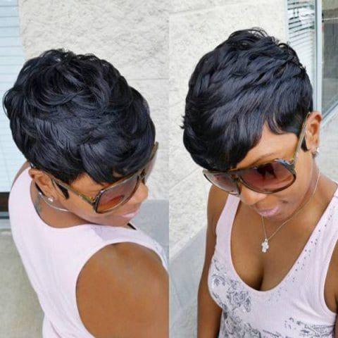 Short Inclined Bang Layered Natural Straight Synthetic Wig