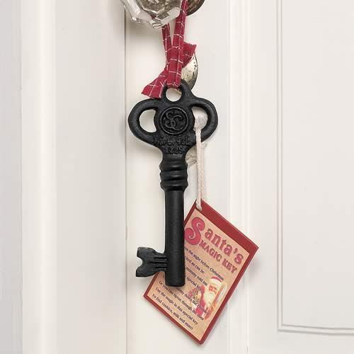 santa's magic key, for homes without chimneys!--'twas the night before Christmas i'm excited as can be, this year mommy told me about a very special key. you can shimmey or tiptoe through the door, use the magic in this special key to find cookies, milk and more!