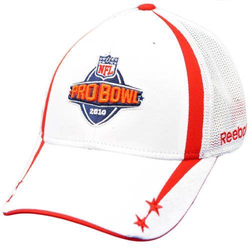NFL Pro Bowl 2010 White Red Flex Fit Large XLarge Mesh Construct Cap Hat Reebok #Reebok #ProBowl