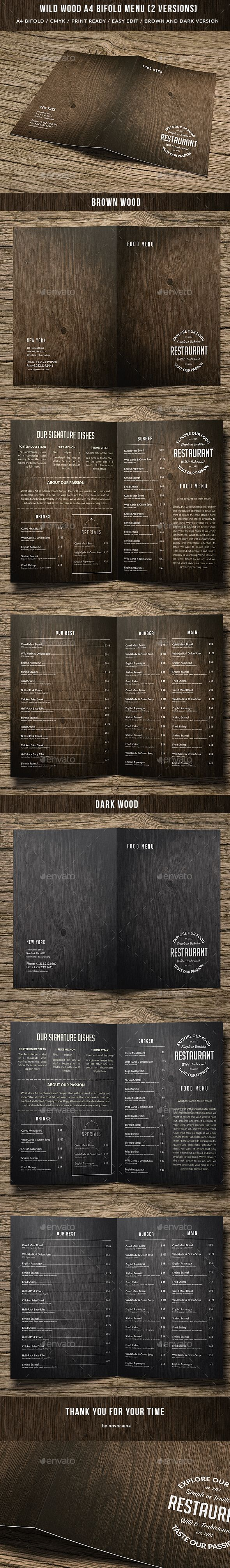 Wild Wood A4 Bifold Menu - 2 Versions Template PSD. Download here: http://graphicriver.net/item/wild-wood-a4-bifold-menu-2-versions/15645295?ref=ksioks