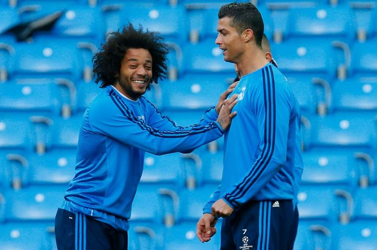 Cristiano Ronaldo and Marcelo during training