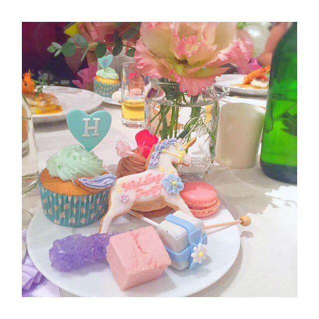 . . 1.5次会の写真見返してた✨ . パステルカラーパーティーしたい✨ . . #party #wedding #weddingparty #icing #icingcookies #cupcakes #guimauve #candybuffet #パーティー #ウェディング #ウェディングパーティー #アイシング #アイシングクッキー #カップケーキ #ギモーヴ #キャンディービュッフェ #unicorn #ユニコーン # #パステルカラー #pastel